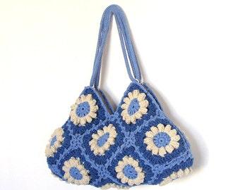 Crochet flower purse hippie purse shoulder bag bohemian carryall granny square bag blue bag for everyday crochet tote bag denim blue purse