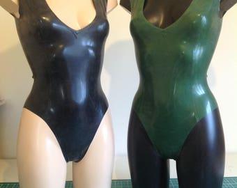 Latex Plunge Neck Bodysuit