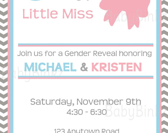 Little Man or Little Miss Gender Reveal Printable Invitation - pink blue mustache bow party invite diy