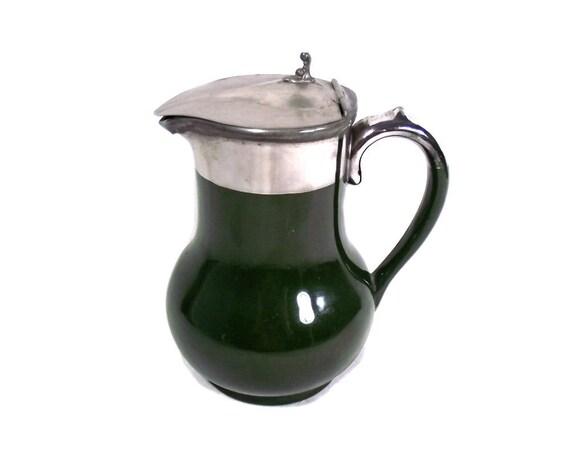 Vintage Green Stoneware Milk Pitcher