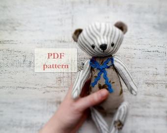 PATTERN for soft safe artist bear teddy bear, 10 inches