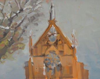 Loretto Chapel - Santa Fe - New Mexico - Winter - Snow - Plein Air - Landscape - Oil Painting - Church - Historic - Old Santa Fe Trail