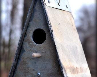 SLATE BIRDHOUSE Cottage Garden / reclaimed / stone / squirrel proof / wren #bird