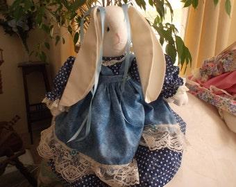 Handmade Stuffed Blue Bunny