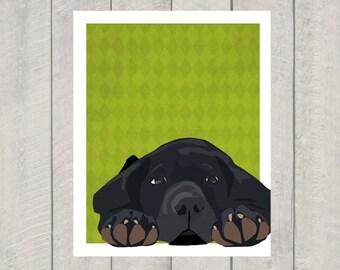 Black Lab Art Print - Lazy Lab - Dog Art