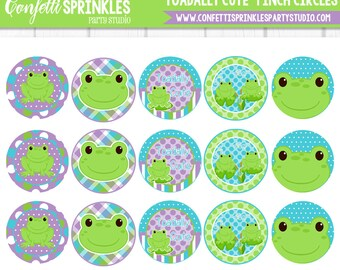 "INSTANT DOWNLOAD ""Toadally Cute"" Frog 4x6"" 1"" Inch Bottle cap image/Digital Collage Sheet"