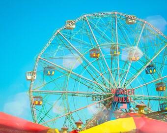 Coney Island Art, Fine Art Photography, Brooklyn, New York City, Home Wall Art, Carnival Decor, Ferris Wheel, Kids Room Art, Nursery Decor