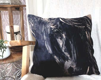 Black horse Cushion Cover, fabric printing and velveteen, Illustration by Cynthia Paquette