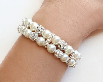 Bridesmaid bracelet, bridesmaid gift, wedding party gift, 2 Strand Pearl Bracelet, valentine gift, pearl bracelet, cuff bracelet
