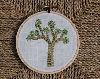"Hand Embroidered Hoop Art Joshua Tree 4"""