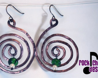 Spiral copper earrings, large 1.5 inch diameter, with recycled Tanqueray bead drop, sterling silver ear wires