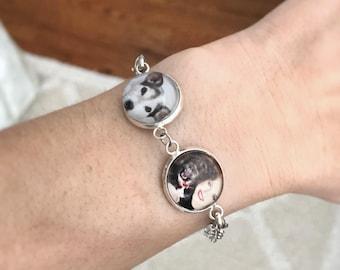 Double Picture Charm Bracelet Personalized Bracelet For Her Personalized Jewelry Custom Bracelet Personalized Bracelet Jewelry