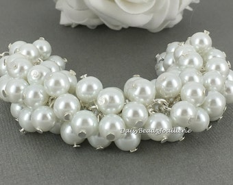 Pearl Cluster Bracelet White Pearl Bracelet Pearl Jewelry Bridesmaid Bracelet Bridal Gift for Her Budget Jewlery Gift for Maid of Honor