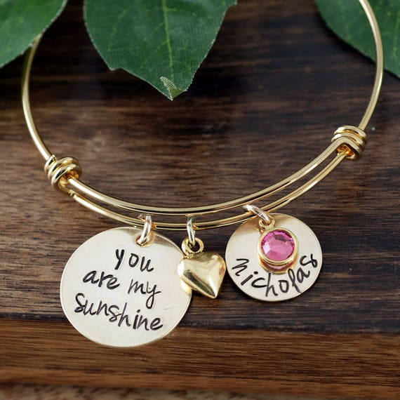 You are my Sunshine Gold Personalized Bracelet, Mothers Birthstone Bracelet, Custom Bangle Bracelet, Signature Jewelry, Engraved Bracelet
