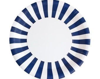 Navy Blue Dinner Plates / Navy Striped Paper Plates / Navy Paper Plates / Nautical Party Plates / Navy Blue Striped Party Plates
