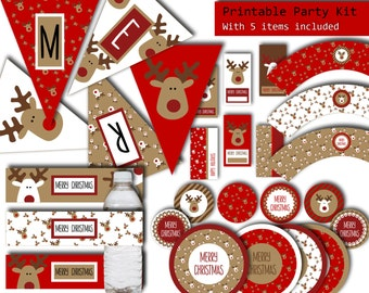 Christmas Party Printables, 5 ITEMS Printable Party Package, Christmas Party Decorations, Merry Christmas Banner, Christmas Decorations