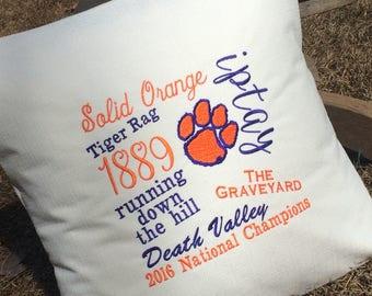 Clemson University throw pillow