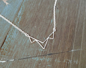 Sterling Silver Triangle Festoon Necklace Three Triangles Necklace Geometric Necklace