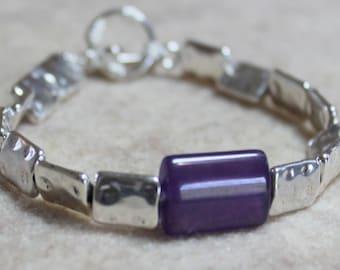 Purple Stone and Silver Square Executive Bracelet