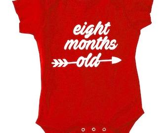 Eight Month Old Birthday, Shirt Bodysuit New Born Birthday, Birthday Gift, Gift For 8 Month Old Baby Onepiece One Piece Baby Shower, TH-407