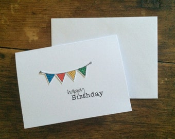"Handmade Happy Birthday - card set ""Banner"" (Set of 4)"