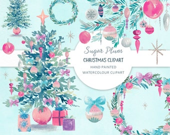 Christmas Clipart - Sugar Plum. Holiday hand painted watercolor graphics.
