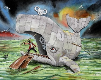 Watercolor Illustration Essex White Whale...Herman Melville's Moby Dick Wind up Toy  art Print... Teacher or Student Gift