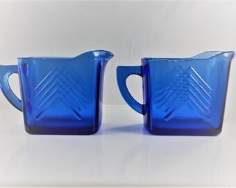 Set of 2 Vintage Hazel Atlas Cobalt Blue Creamers - Small Milk Pitchers