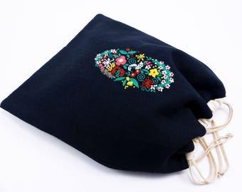 Pochon délicat, broderie manuelle, doublure coton, lacets serrage coton, sac à doudou, pochon rangement