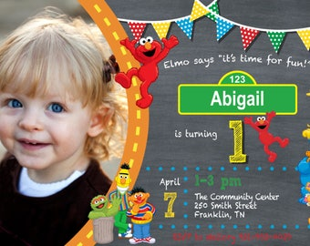 Seasame Street Elmo Toddler Birthday Invitation