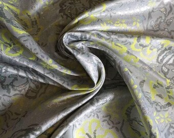 """Floral jacquard made in France, a colorful and clean Chartreuse and Silver floral design and iridescent thread, 60"""" wide, price is per yard"""