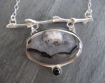 Necklace of Fabulous Montana Agate, Blueberry Twig, and Onyx in Sterling Silver
