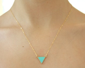 Gold Necklace, Dainty Gold Necklace, Bridesmaid Necklace Mint and Gold Jewelry gifts for her best friend gift girlfriend gifts birthday gift