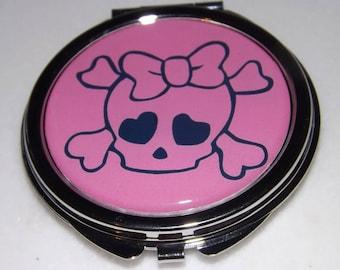 cabochon, pink skull mirror, knot Pocket mirror