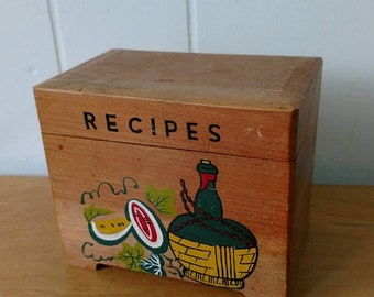 MEMORIAL DAY SALE vintage wood recipe box