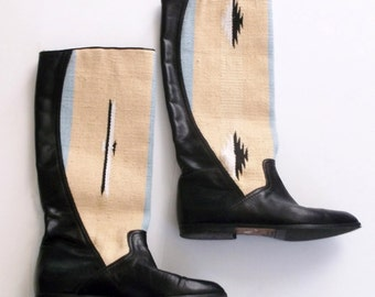 Golo ivory 1970s 1980s Southwestern Navajo canvas and black leather festival knee high flat riding boots 6