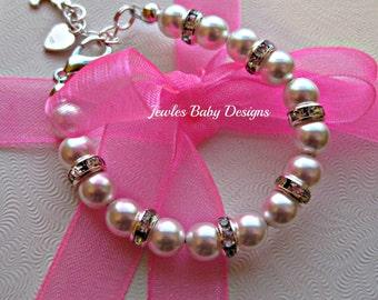 Infant SWAROVSKI Baby bracelet Gift set for Baptism, blessing, communion, baptism bracelet, christening bracelet, baby Shower gift