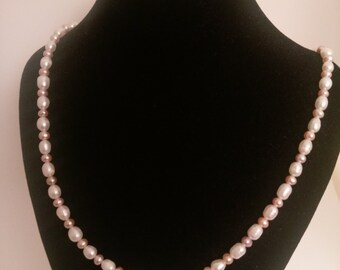 Peach and White Fresh Water Pearl Necklace