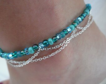 Bluegreen Beaded Anklet with Silver Chain