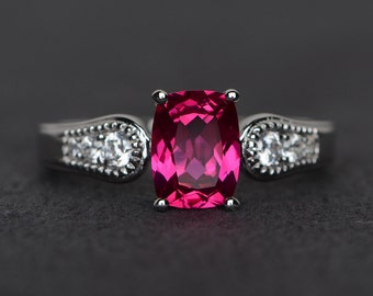 ruby ring silver cushion cut red gemstone ring ruby engagement ring July birthstone