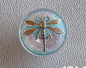 CZECH GLASS BUTTON: 18mm Dragonfly Handpainted Czech Glass Button, Pendant, Cabochon (1)