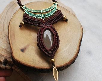 Rutilated Quartz,macrame jewelry,cabochon necklace,Rutilated Quartz necklace-healing stones,hypoallergenic.