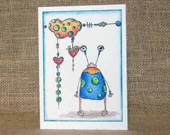 monster love card, handmade card, valentine's card, funny love card, anniversary card