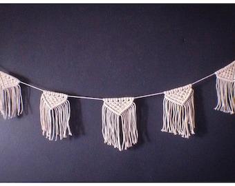 Macrame Bunting, Macrame Garland, 100% Natual cotton rope, Boho wedding, Bunting Banner