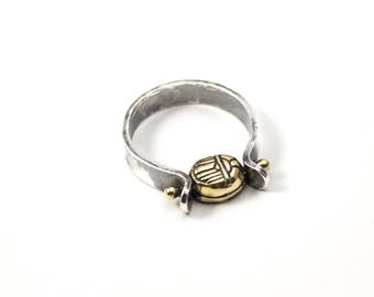 Bague scarabée, bague Ankh, Spinner anneau, taille personnalisée, Spinner bague en argent, petite bague scarabée, petits bijoux de Ankh, made in USA