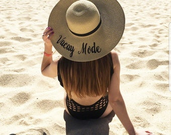 Floppy Hat, Beach Hat, Ladies Sun Hats, Straw Hat, embroidered Vacay Mode, Bachelorette Party, Shower Gift
