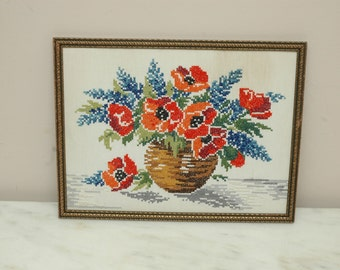 Vintage Poppies Floral Needlepoint Cross Stitch Gold Ornate Frame 1950s