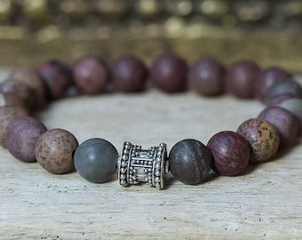 Silver Bracelet, Beaded Bracelet, Boho Jewelry, Stretchy Bracelet, Bali Bead Bracelet, Tribal Bracelet, Layering Bracelet, Healing Jewelry