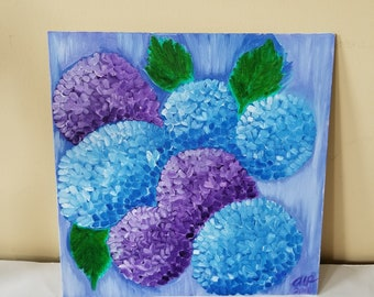 Hydrangeas, Original Oil Painting on canvas board, 12 x 12, Abstract Flower