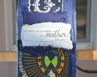Dark Blue Doorknob Hanging Art Quilt - Mother